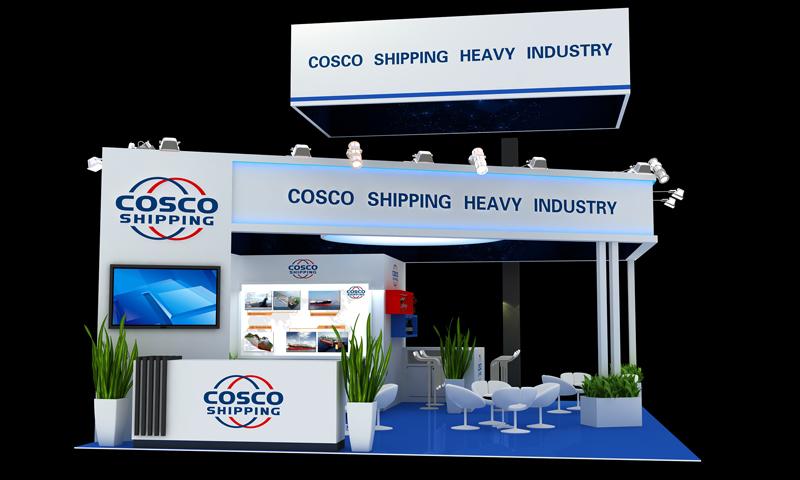 COSCO SHIPPING展台设计-19年挪威海事展展台设计案例-依木展览 - 欧洲展台展厅设计搭建 - 上海依木展览服务有限公司